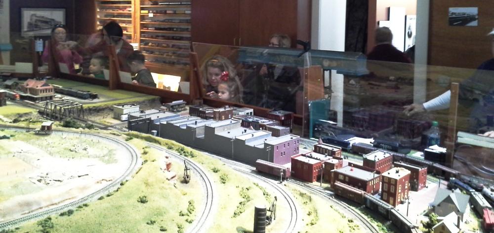 Visitors in the Model Railroad Room