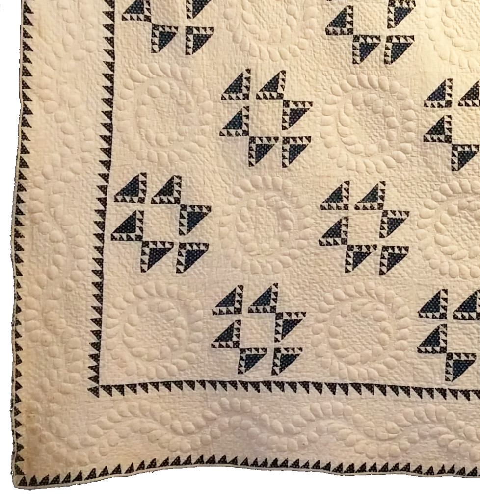 Nine Patch and Trapunto Quilt, pre-1850