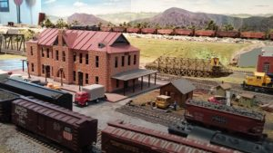 Miniature of the Santa Fe Depot on the Model Railroad Exhibit layout.